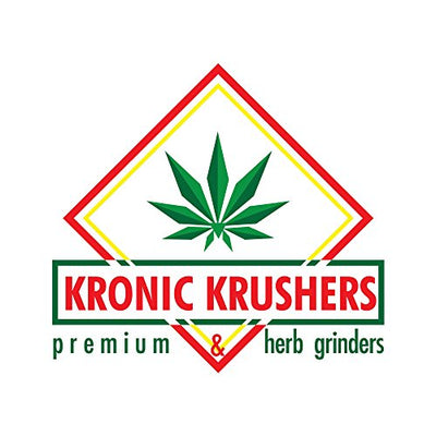 Kronic Krushers Herb Grinder Bundle with 4 Parts Hand-Grinder Magnetic Cap, Twisty Glass Blunt and 2oz Stash Jar, Silver