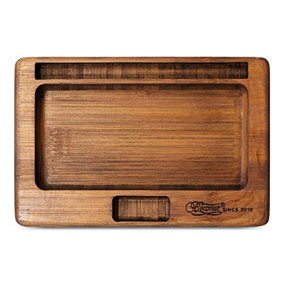 Beamer Natural Bamboo JuJu Rolling Tray With Blunt Cigar Cigarette Holder + No Chemicals + No Dyes + Precision CNC Machined + Artisan Hand Finished + Natural Matte Finish + Beamer Smoke Sticker