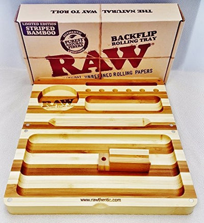 Raw Bamboo Limited Edition Striped BACKFLIP Magnetic Rolling Tray