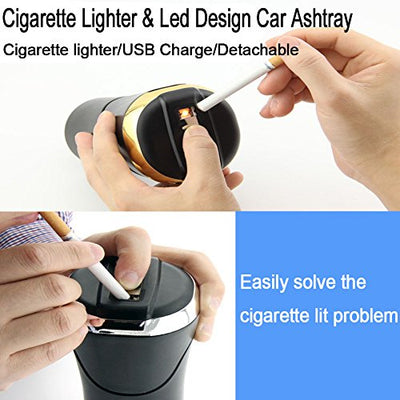 Big Ant Car Ashtray with Blue Led Light for Cup Holder