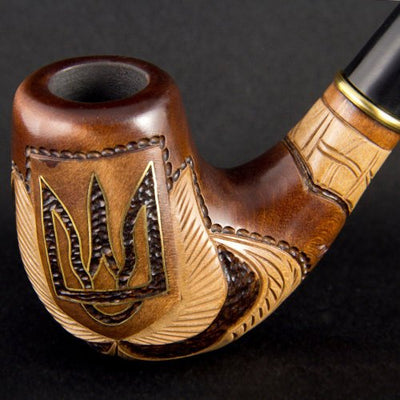 6.1'' Encrusted 'Trident' Carved wooden smoking pipe. Best smoking pipes. WORLDWIDE shipping.