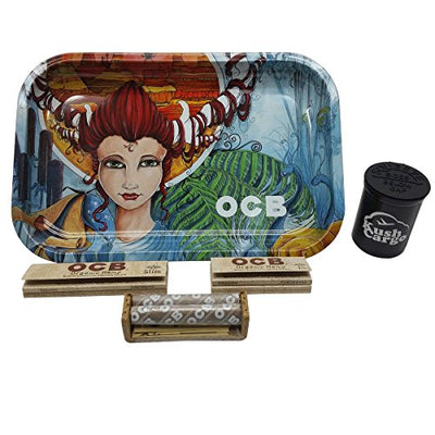 OCB Rolling Tray Artist Series 7x11 + OCB Rolling Papers with Tips