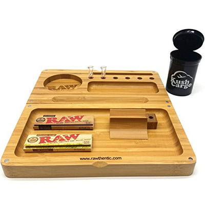 RAW Bamboo Backflip Rolling Tray + RAW x ROOR Glass Rolling Tips + Papers
