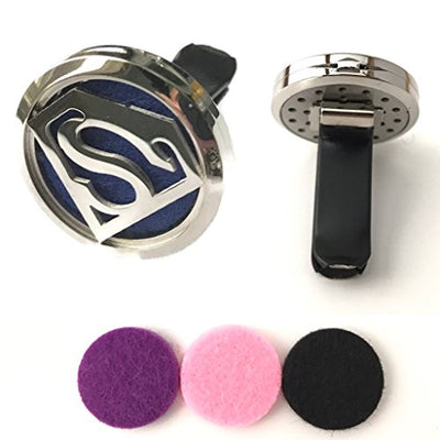 Superman Car Air Freshener Aromatherapy Essential Oils Clip Diffuser 316L Stainless Steel With 3 Colored Cotton Pads