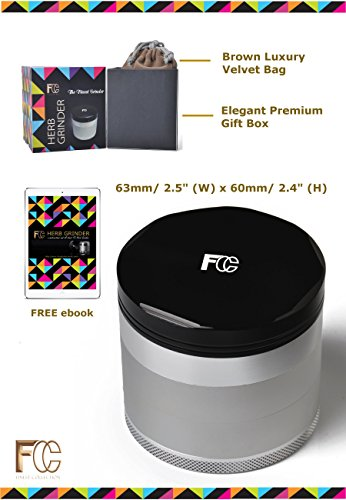 "TOP Premium 5 PIECE Herb Grinder in Stylish Giftbox by FC- Unique 2.5"" Aircraft Aluminum Mill with Diamond Teeth & Pollen Catcher for Spice Weed Tobacco. FREE Luxury Pouch, Ebook & Scraper"