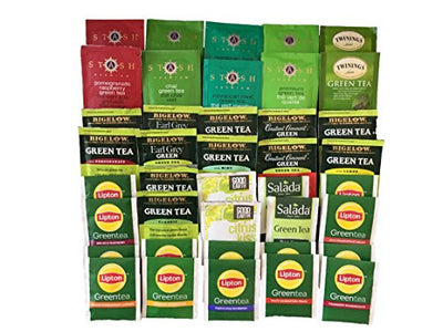 Custom Assorted Green Tea Variety Pack by AtHomePlus-- Good Earth, Salada, Bigelow, Stash, Twining Teas (40 Count) - Flavorful Sampler of Fresh Natural Green Tea bags packed in Gift Box