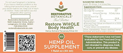 Restore Whole Body Health Hemp Oil Supplement 30 ml, 300 mg With Added Hemp Terpenes Infused In Organic Olive Oil