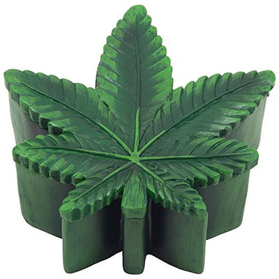 Marijuana Leaf Trinket Box with Hidden Storage Compartment for Stash or Decorative Jewelry Boxes As Cool Gifts for Pot Smokers