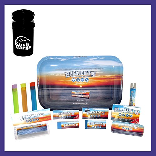 BUNDLE 14 ITEMS: Elements 1 1/4 Rolling Paper and Tray Super Sampler + KC Limited Edition Jar