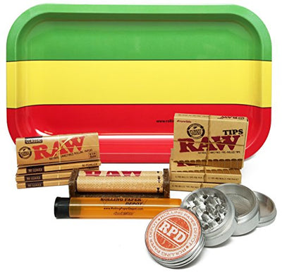 Bundle - 11 Items - Raw Natural 1 1/4 Cigarette Rolling Papers (4 Packs), RAW Pre-Rolled Tips (3 Packs), RAW 79mm Roller and Rolling Paper Depot Rolling Tray, Grinder and Doob Tube