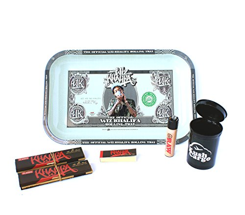 BUNDLE 6 ITEMS: Wiz Khalifa Rolling Tray + Wiz Khalifa Rolling Papers + Clipper Lighter