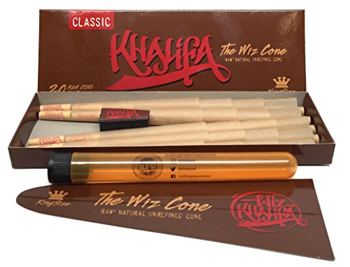 Wiz Khalifa Edition RAW Unrefined King Size Pre-rolled Cones (1 Pack/20 Cones) with Rolling Paper Depot XL Doobtube