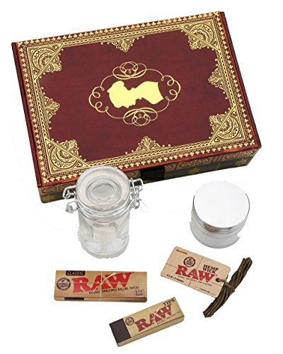 "Double Stack ""Treasure Island"" Book Stash Box - Tobacco Box, Rolling Kit, Cigerette Rolling Tray, 5 Pc. Bundle"