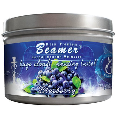 Blueberry Beamer® Ultra Premium Hookah Molasses 250 gram tin. Huge Clouds, Amazing Taste!® 100 % Tobacco, Nicotine & Tar Free but more taste than tobacco! Compares to Hookah Tobacco at a fraction of the price! GREAT TASTE, LOTS OF SMOKE & SMELLS GRE