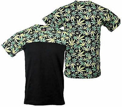 Weed Print Marijuana Cannabis Hemp Green Leaf shirt Maui Kush (Green/Black) Tee T Shirt T-shirt