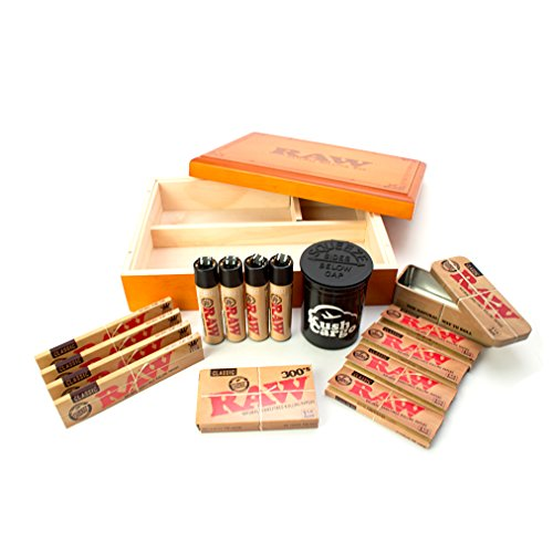 Raw Wood Box + Raw Rolling Papers 300 Pack + RAW Clippers