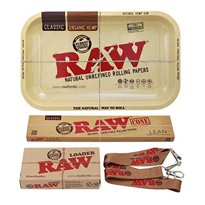Genuine RAW Bundle Kit - Homemade Cone Style Cigarette & Blunt Rolling Variety Pack - 1 Metal Rolling Tray, 1 Pack Cone Papers [20 Count]& 1 Cone Loader with Scraper Card & Poker