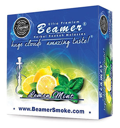 Lemon Mint Beamer® Ultra Premium Hookah Molasses 50 Gram Box. Huge Clouds, Amazing Taste!® 100 % Tobacco, Nicotine & Tar Free but more taste than tobacco! Compares to Hookah Tobacco at a fraction of the price! GREAT TASTE, LOTS OF SMOKE & SMELLS GRE