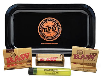 Bundle - 7 Items - Rolling Paper Depot Rolling Tray with RAW Single Wide Rolling Papers, Pre-Rolled Tips, 70mm Roller and Doobtube