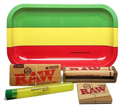 Bundle - 5 Items - RAW King Size Supreme, 110 Roller and Pre-rolled Tips with Rolling Paper Depot Rolling Tray and Doobtube