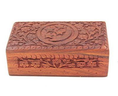 KayJayStyles Hand Carved Jewelry Trinket Keepsake Wooden Storage Box