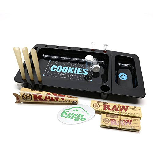 RAW x Cookies Rolling Tray 2.0 Bundle With (2) ROOR Glass Tips + KC Sticker