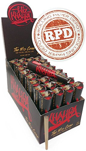 18 Wiz Raw Cones, Wiz Khalifa Raw Natural Unrefined Cones Rolling Paper 1 1/4 Size, 3 Pack of 6 Cones + Rolling Paper Depot Sticker
