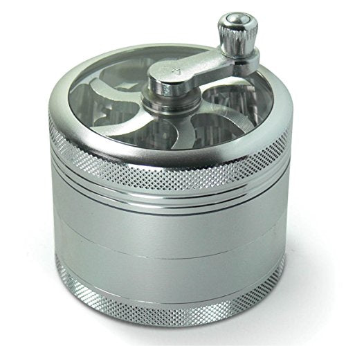 MasterGrind Mill 4-Piece Herb Grinder with Pollen Catcher and Crank Handle - Large 2.5 inch
