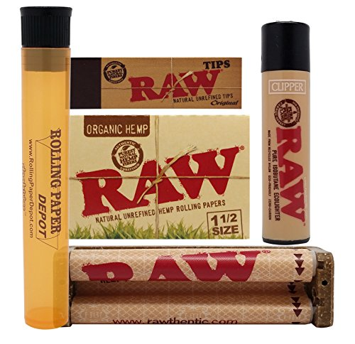 Bundle - 5 Items - RAW Organic 1 1/2 Papers, 79mm Roller, Tips, Clipper Lighter and RPD Doob Tube