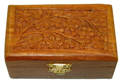 "4""x2.5""x1.5"" Flower Carved Design Finished Wood Box"