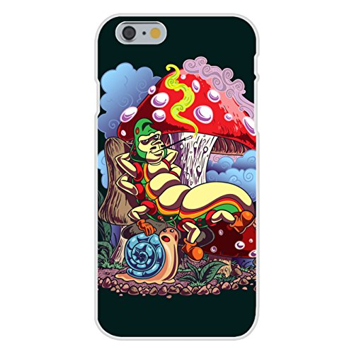"Apple iPhone 6 Custom Case White Plastic Snap On - ""Smoking Caterpillar"" w/ Pet Snail & Mushrooms by Hat Shark"