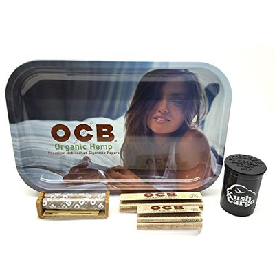 OCB Rolling Tray Girl Image 7x11 + OCB Rolling Papers + KC Pop Top
