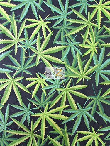 Black Marijuana Cotton Fabric By Alexander Henry Cannabis Herb Chronic Sold By the Yard