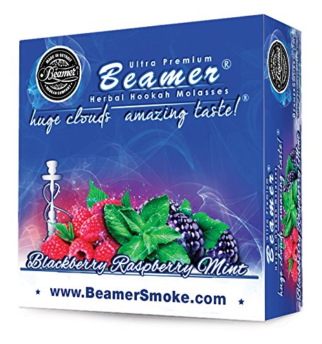 Blackberry Raspberry Mint Beamer® Ultra Premium Hookah Molasses 50 Gram Box. Huge Clouds, Amazing Taste!® 100 % Tobacco, Nicotine & Tar Free but more taste than tobacco! Compares to Hookah Tobacco at a fraction of the price! GREAT TASTE, LOTS OF SMO