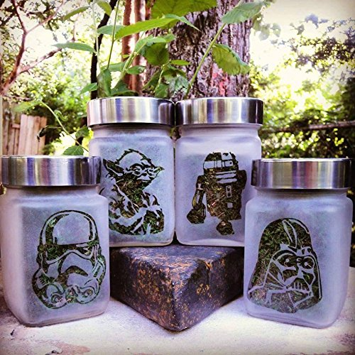 Twisted420Glass Star Wars Collectible Gift Set - Star Wars Collection of 4 Etched Glass Stash Jars & Herb Storage Containers