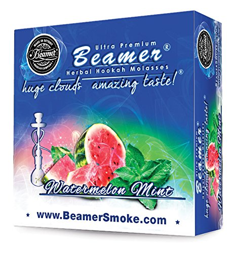 Watermelon Mint Beamer® Ultra Premium Hookah Molasses 50 Gram Box. Huge Clouds, Amazing Taste!® 100 % Tobacco, Nicotine & Tar Free but more taste than tobacco! Compares to Hookah Tobacco at a fraction of the price! GREAT TASTE, LOTS OF SMOKE & SMELL