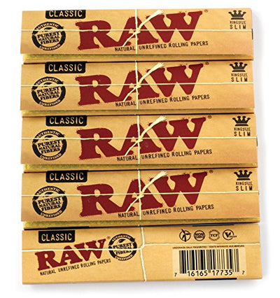 5 booklets x RAW CLASSIC King Size Slim UNREFINED Natural rolling paper