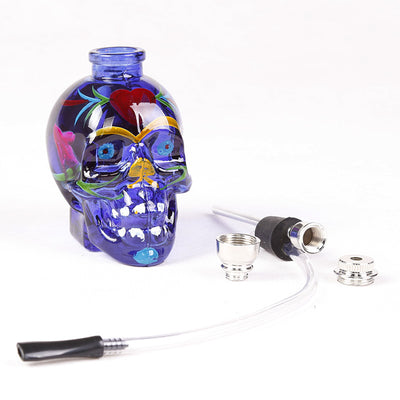 Drawing Glass Skull Water Mini Hookah Pipes
