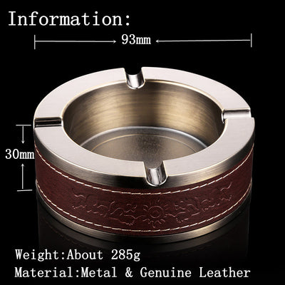Round Genuine Leather Ashtray