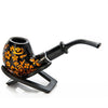 Flower Carving Metal Filter Tobacco Herb Pipe