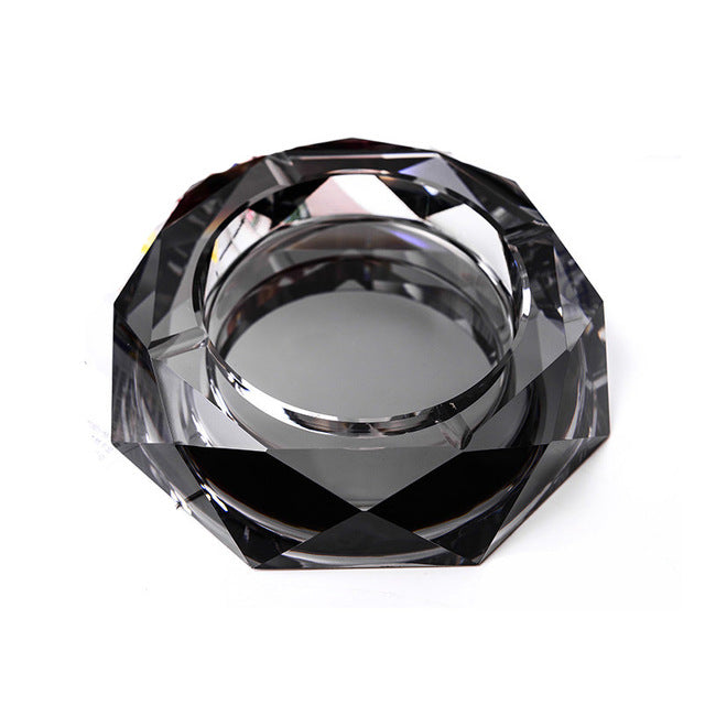 Luxury Clear 12 cm Round Crystal Ashtray
