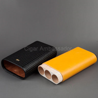 Luxury Leather &  Wood 3 Tube Cigar Case Holder