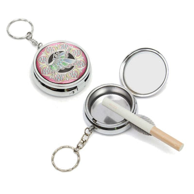 Portable Mini Stainless Steel Round Ashtray With Keychain