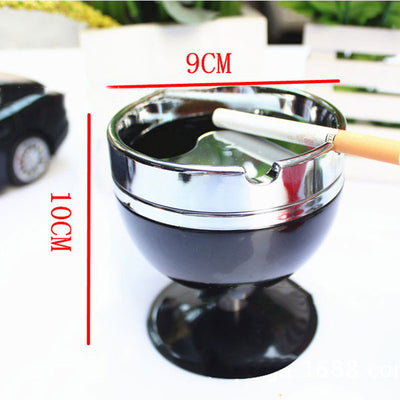 Glass Cup Rotary Metal Ashtray with Cover