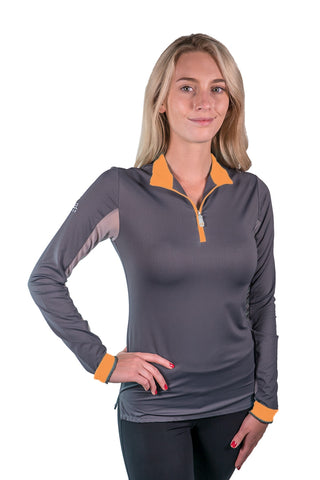 Kastel Charlotte Technical Long Sleeve - Asphalt with Orange Trim