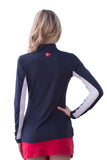Kastel Charlotte Technical Long Sleeve - Navy with Red Trim
