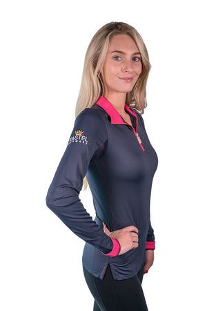 Kastel Charlotte Technical Long Sleeve - Navy with Raspberry Trim