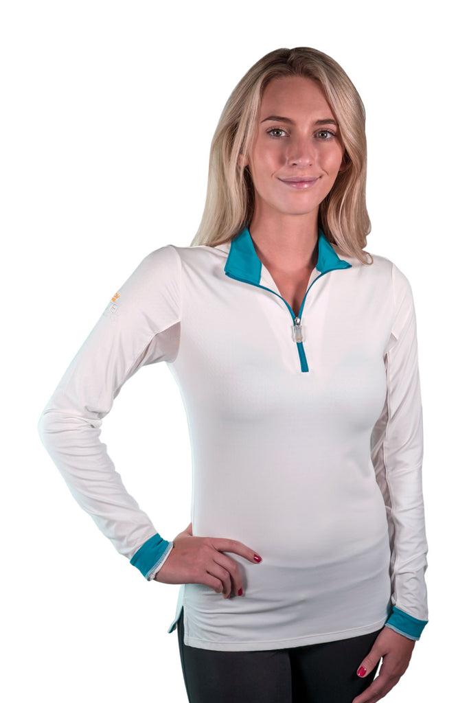 Kastel Charlotte Technical Long Sleeve - White with Teal Trim