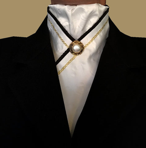 White Satin Stock Tie with Gold + Black
