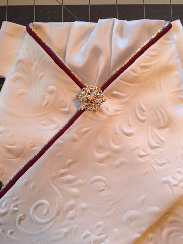Embossed White Satin Stock Tie with Maroon and Silver